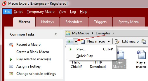 Building a macro script by recording the mouse and keyboard